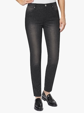 Jeans - schwarz-silberfarben-bedruckt