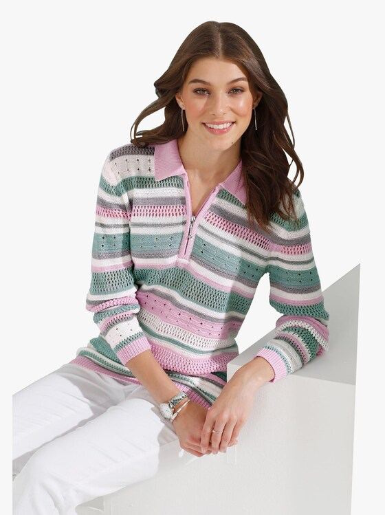 Pullover - mint gestreept