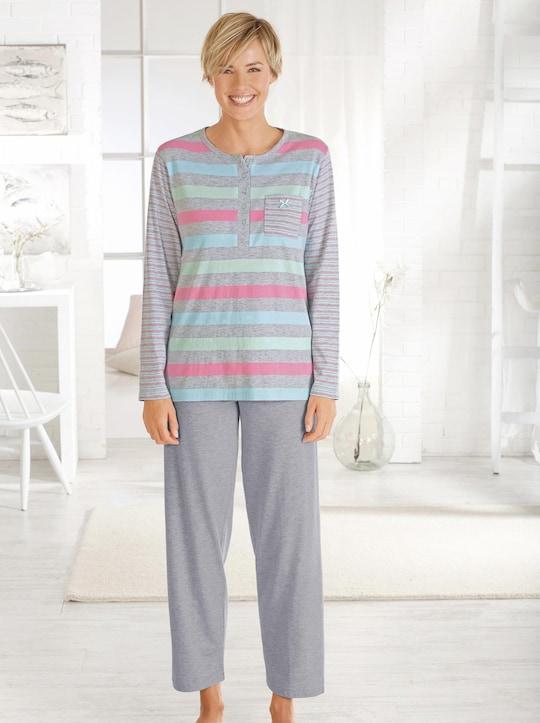 Marie Francoise Schlafanzug - grau-gestreift