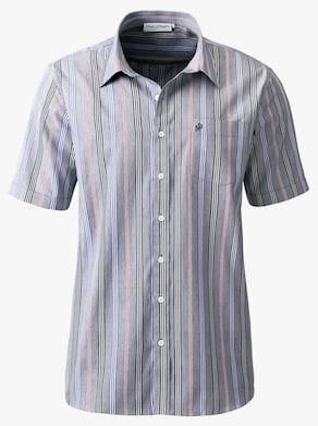 Košeľa s krátkymi rukávmi - námornícka modrá pásikovaná