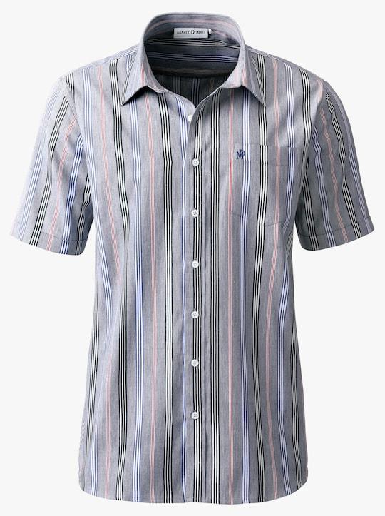 Marco Donati Hemd met korte mouwen - marine gestreept