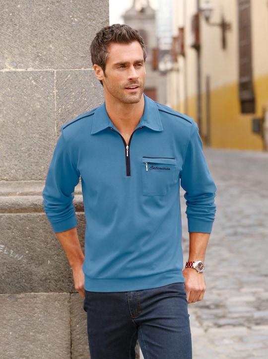 Catamaran Langarm-Poloshirt - jeansblau