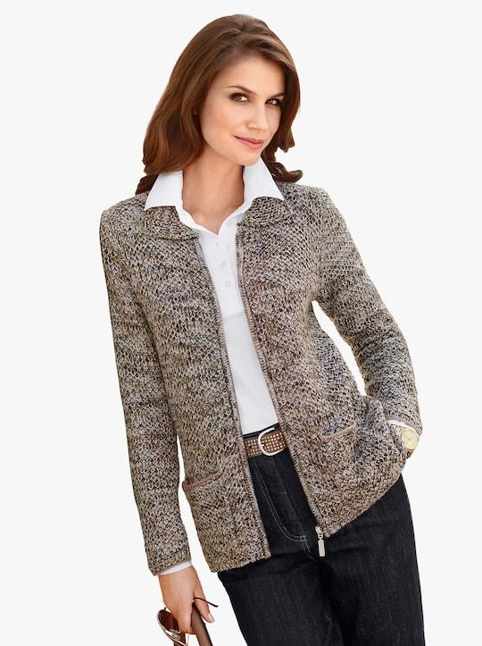 Collection L Pletený kabátek - taupe-melír