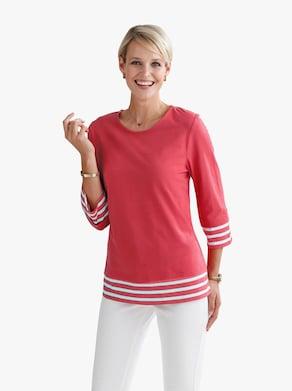 Shirt - erdbeere-weiß-gemustert