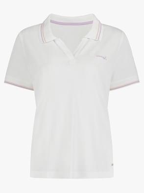 Poloshirt - ecru-flieder-gestreift