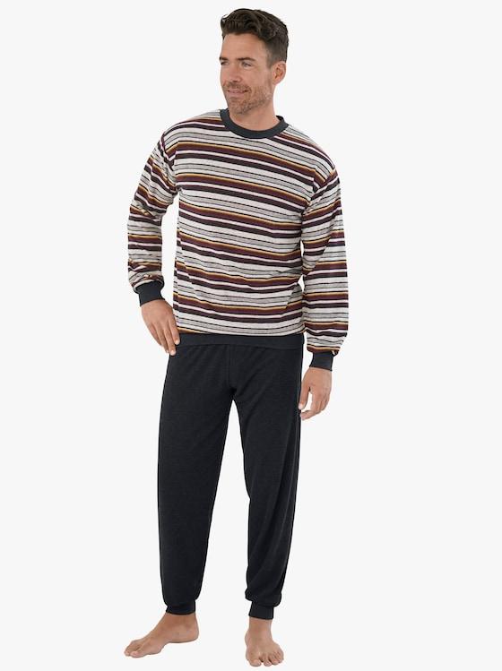 Normann Schlafanzug - grau-geringelt