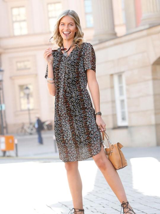 Kleid - ocker-schwarz-bedruckt
