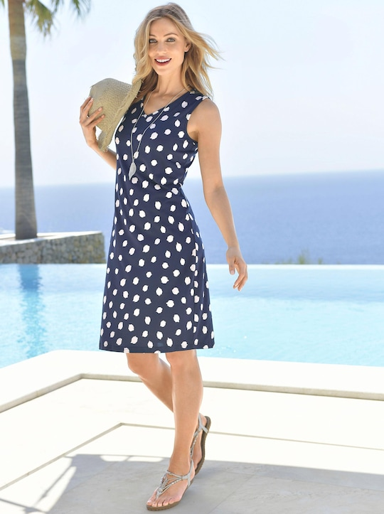 feel good Sommerkleid - marine-weiß