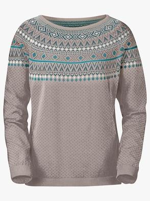 Pullover - taupe-petrol-gemustert