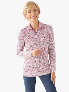 Pullover - bessenrood gemêleerd