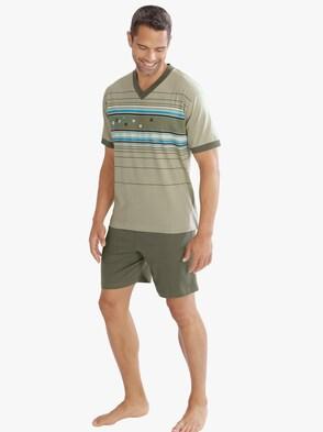 Krátké pyžamo - rákosová-potisk