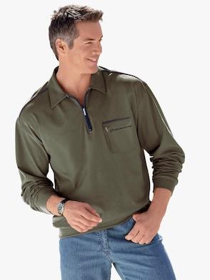 Langarm-Poloshirt - schilf