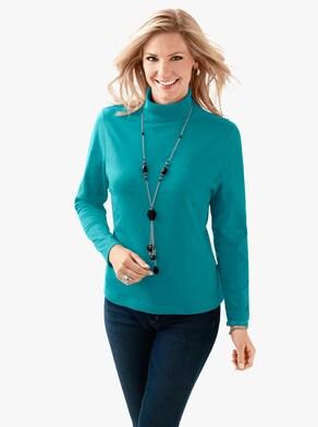 Tričko s rolákovým límcem - smaragdově zelená