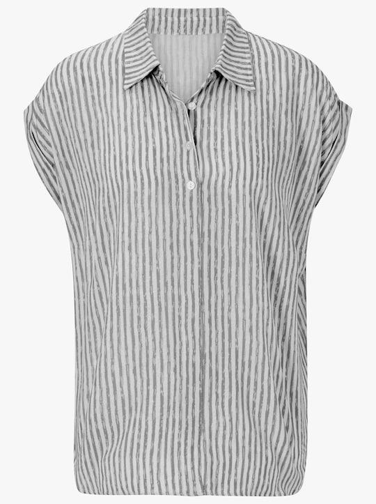 Collection L Bluse - grau-gestreift