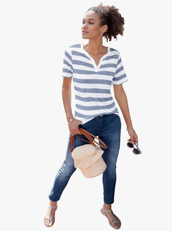 Shirt - jeansblau-gestreift