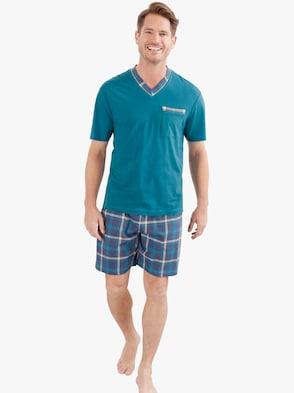 Krátké pyžamo - petrolejová-kostka