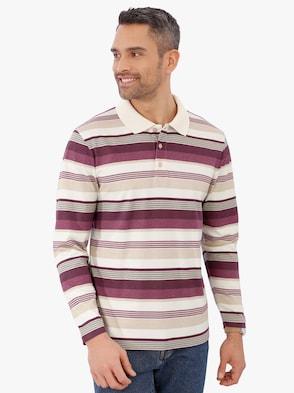 Poloshirt - bordeaux-grau
