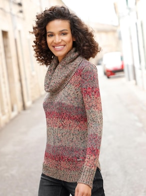 Pullover - taupe/rood gedessineerd
