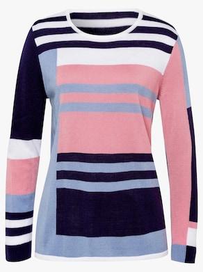 Pullover - nachtblau-weiß