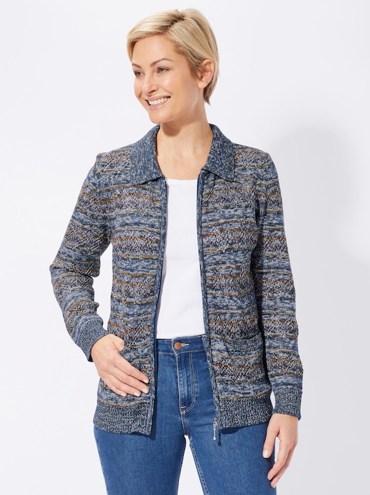 Collection L Strickjacke - blau-gemustert