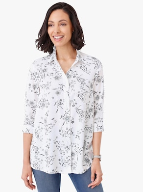 Longline blouse - wit geprint