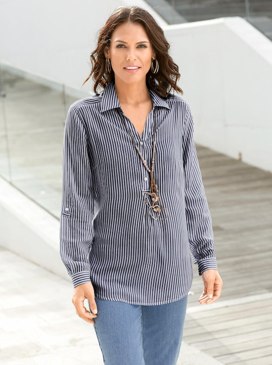 Collection L Gestreepte blouse - marine gestreept