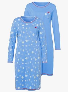Nachthemd - hemelsblauw + hemelsblauw bedrukt