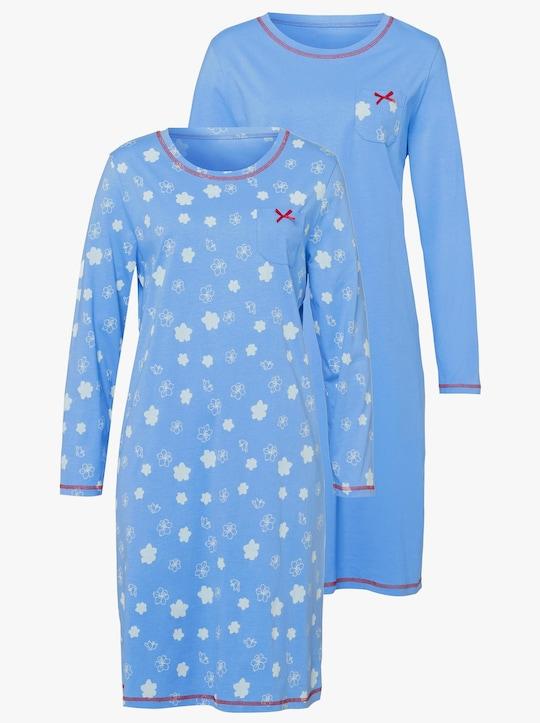 Nočná košeľa - Belasá + belasá potlač