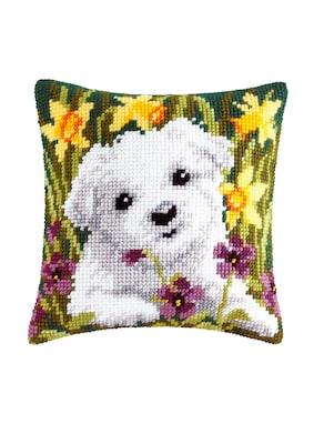 Stickkissen - Hund mit Blumen