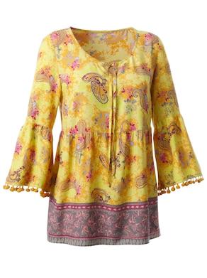 Bluse - curry-khaki-gemustert