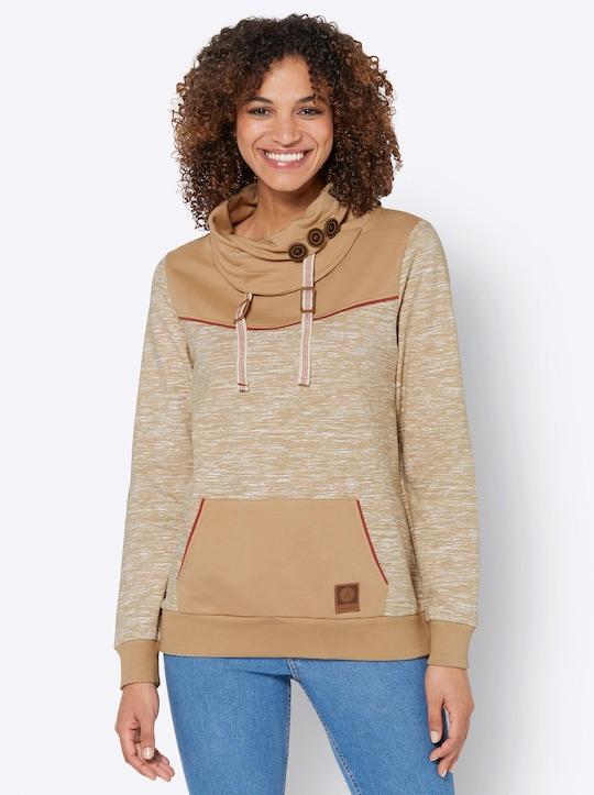 Sweatshirt - camel-weiß-meliert
