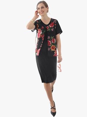 Šaty - čierna vzorovaná