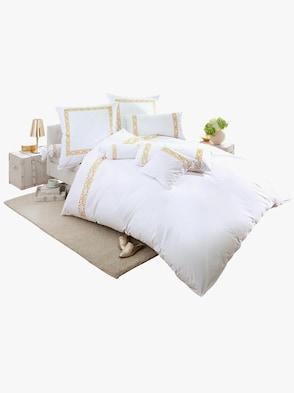 Bettwäsche - weiß-goldfarben