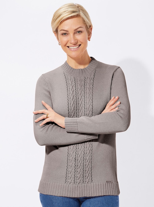 Collection L Pullover - taupe-meliert