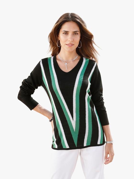 Pullover - groen gestreept