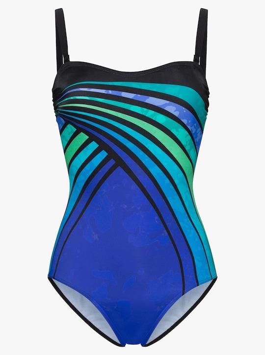feel good Badeanzug - schwarz-blau-bedruckt
