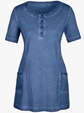 Lang shirt - rookblauw