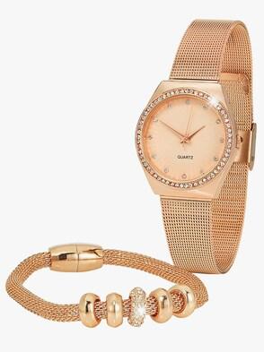 Armbanduhr und Armband - goldfarben