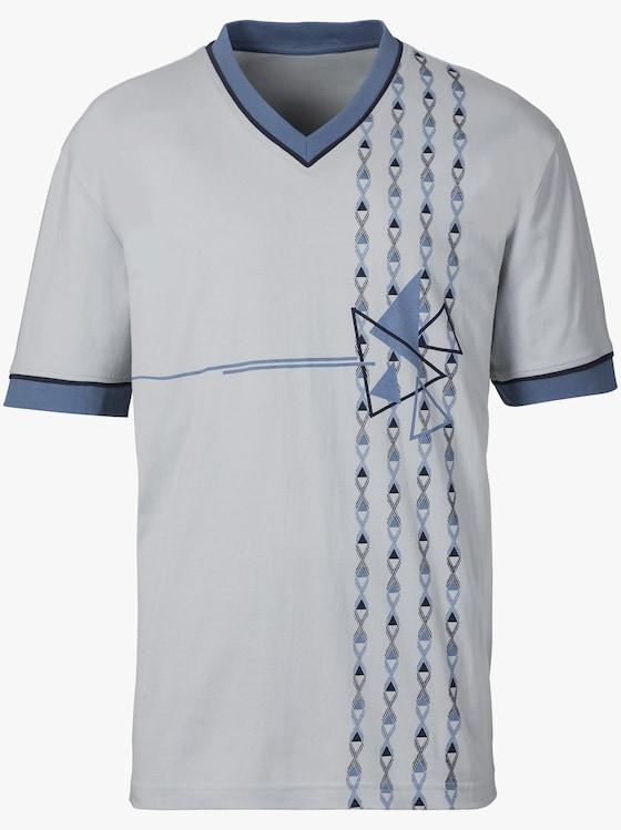 KINGsCLUB Krátké pyžamo - světlešedá-modrá