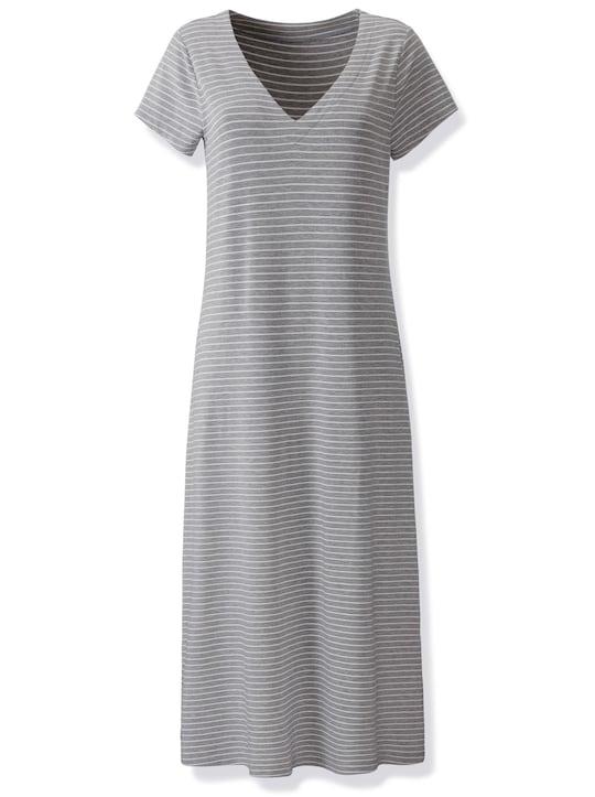 Jersey-Kleid - steingrau-weiß-gestreift