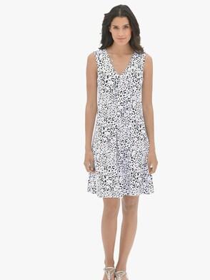 Sommerkleid - weiß-schwarz-bedruckt