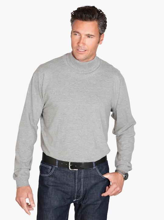 Tričko s rolákovým límcem - šedá-melír