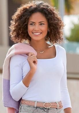 LASCANA Langarmshirt - weiß
