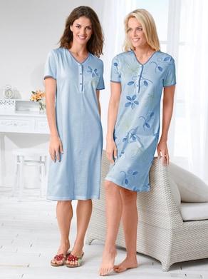 Ascafa Kurzarm-Nachthemden - blau + blau-bedruckt