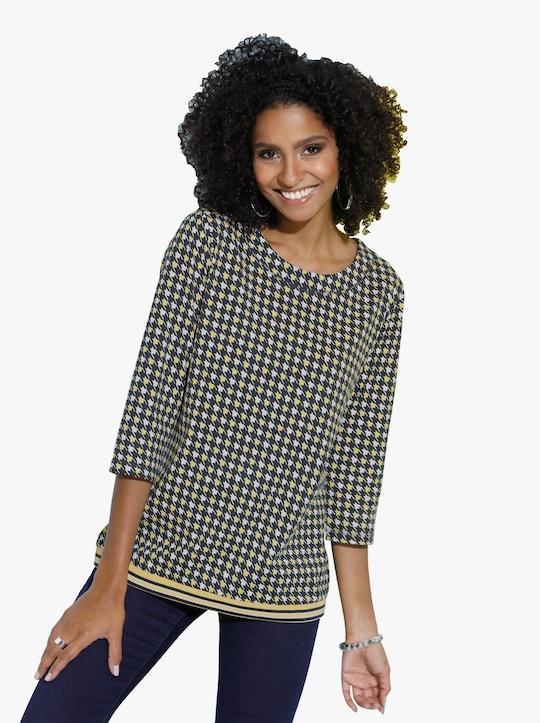 Tričko - žlutá-černá-vzor