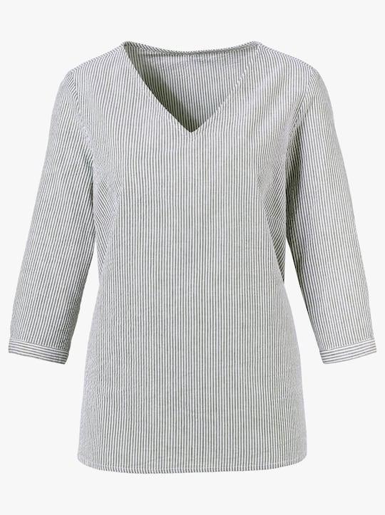 Comfortabele blouse - olijf/wit gestreept