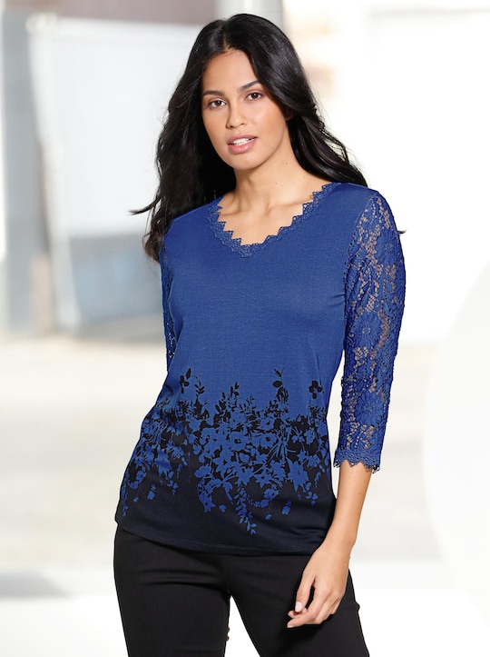 Fair Lady Shirt - royalblau-bedruckt