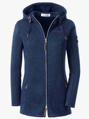 Collection L Fleece-Jacke - marine-meliert
