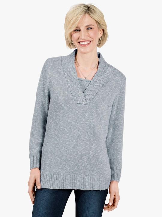 Pullover - bleu gemêleerd