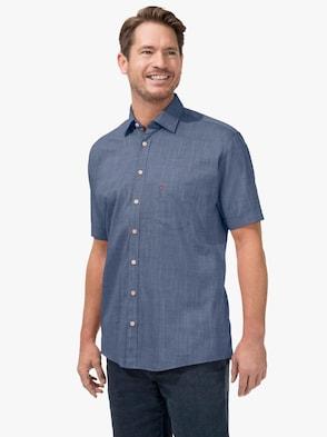 Kurzarm-Hemd - jeansblau